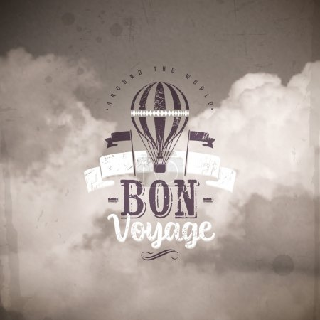 Illustration for Vintage air balloon and type design against a clouds background - Royalty Free Image