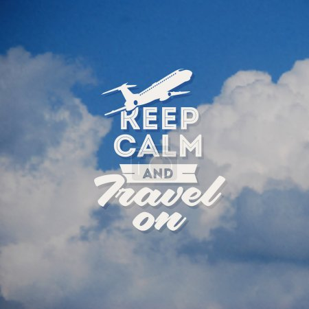 Travel type design with clouds background