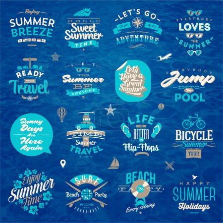 Illustration for Vector illustration - Set of travel and summer vacation type design - Royalty Free Image