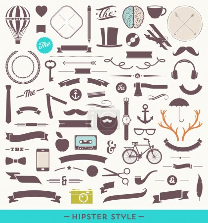 Illustration for Hipster style vector set - simple silhouette design elements - Royalty Free Image