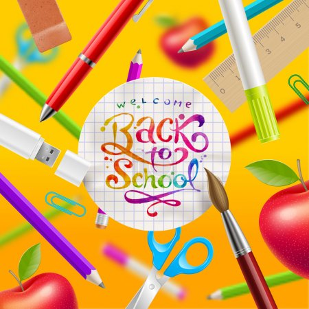 Illustration for Back to school - vector illustration with watercolor colorful lettering and stationery items - Royalty Free Image
