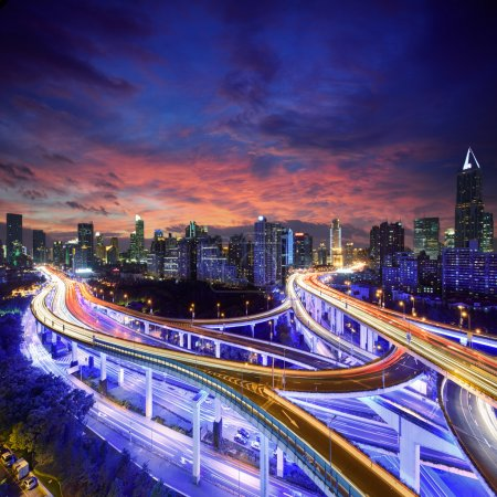 Photo for Shanghai City at sunset with light trails - Royalty Free Image