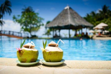 Pina Colada drink at pool and bar