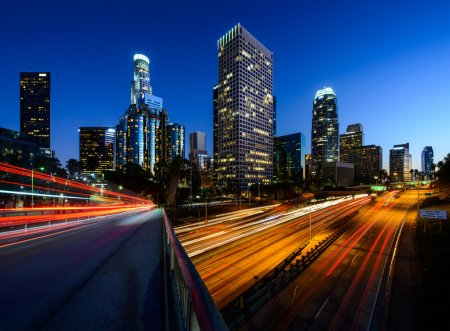 Photo for City of Los Angeles California at sunset with light trails - Royalty Free Image