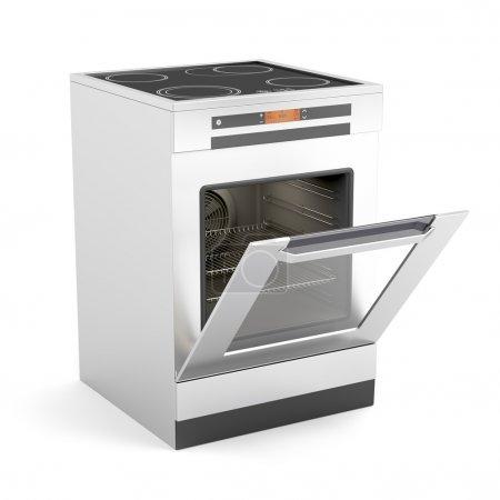 Photo pour Plaque de cuisson électrique moderne avec une porte ouverte sur fond blanc - image libre de droit