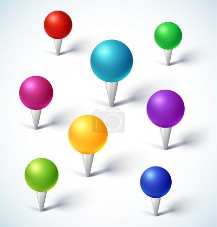 Illustration pour Ensemble de broches de carte colorées. Illustration vectorielle . - image libre de droit