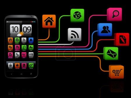 Photo pour Smartphone à écran tactile avec nuage de note icônes d'application : tous les appareils et tous les écran interface graphique de cette série est conçus par le contributeur lui soi. - image libre de droit