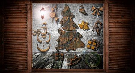 Photo pour Lumières de Noël vues à travers une fenêtre de cabine en bois - image libre de droit