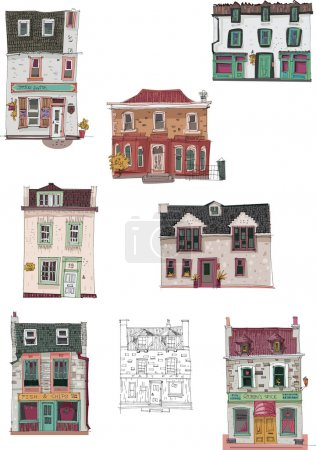 Illustration for Set of facades - Edinburgh - cartoon - Royalty Free Image