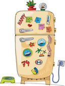 Vintage fridge with magnets and sticker - cartoon