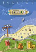 Draufsicht der Küste - cartoon