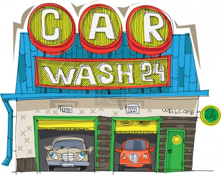 Carwash station - cartoon