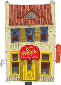 Facade of vintage European cafe - cartoon