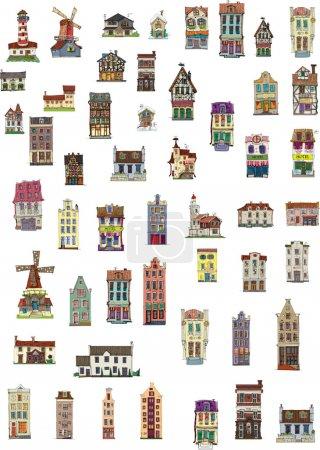 Illustration for Big set of vintage facades - cartoon - Royalty Free Image