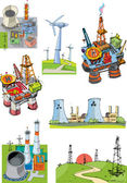 Set of industrial projects related to energy - cartoon
