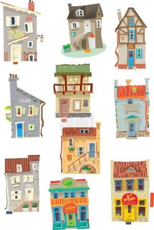 Set of facades - Edinburgh - cartoon