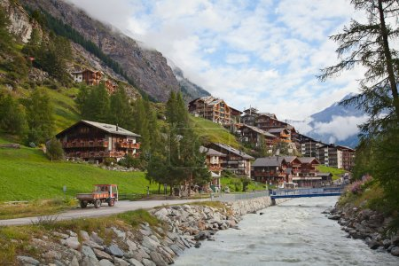 Photo for Famous swiss city Zermatt in the valley near the swiss-italian border center of alpine sports - Royalty Free Image