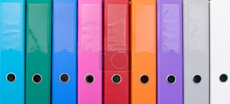 Photo for Colorful office folders on the bookshelf - Royalty Free Image