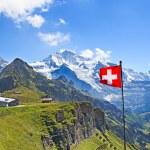 Swiss flag on the top of Mannlichen (Jungfrau regi...