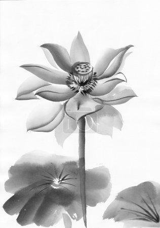 Photo pour Œuvres d'art originales, aquarelle de lotus, peinture de style asiatique - image libre de droit