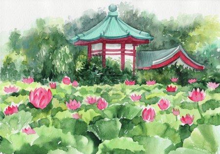 Photo pour Peinture aquarelle de la peinture de lotus lake et de la pagode, œuvres d'art originales, de style asiatique - image libre de droit