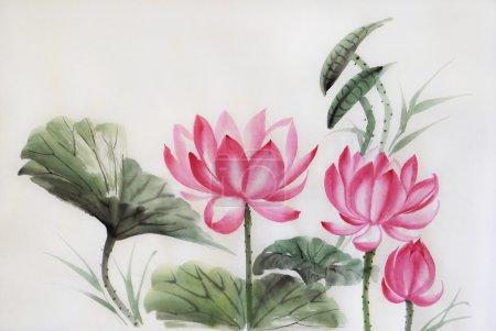 Photo pour Arbre aquarelle lotuses, œuvres d'art originales, style asiatique - image libre de droit