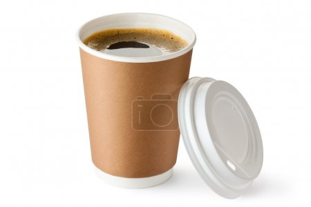 Photo for Opened take-out coffee in cardboard cup. Isolated on a white. - Royalty Free Image