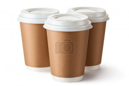 Three take-out coffee in cardboard thermo cup