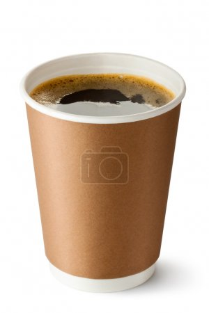 Photo for Take-out coffee in opened thermo cup. Isolated on a white. - Royalty Free Image