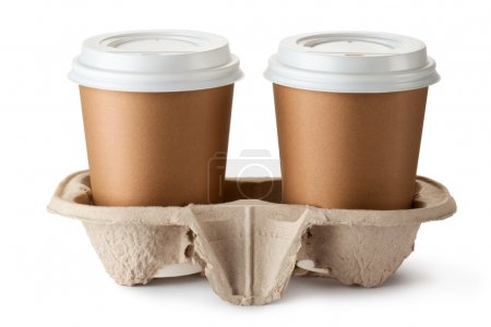 Photo for Two take-out coffee in holder. Isolated on a white. - Royalty Free Image
