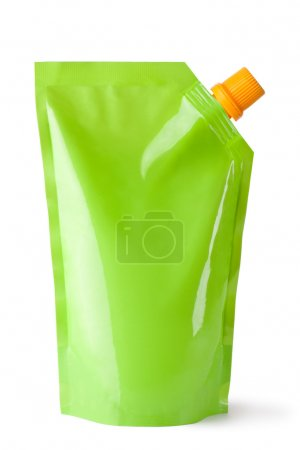 Photo for Plastic pouch with batcher. Isolated on a white. - Royalty Free Image