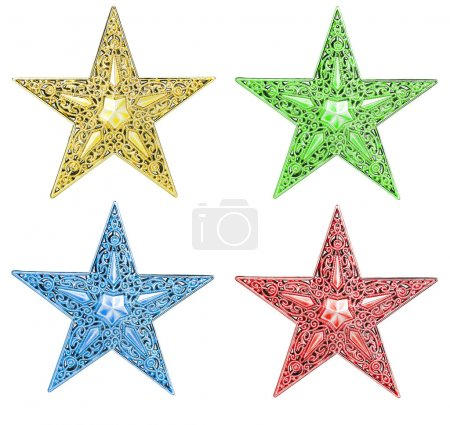 Photo for A set of stars, many decorated. Gold,red,blue and green color. Isolated on white - Royalty Free Image