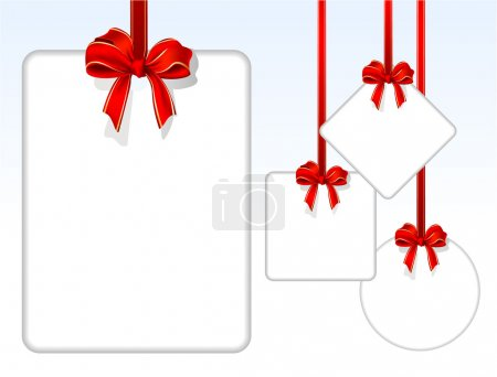 Illustration for Card notes with red gift bows with ribbons. Vector. - Royalty Free Image