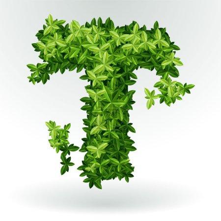 Letter T, green leaves summer vector alphabet.