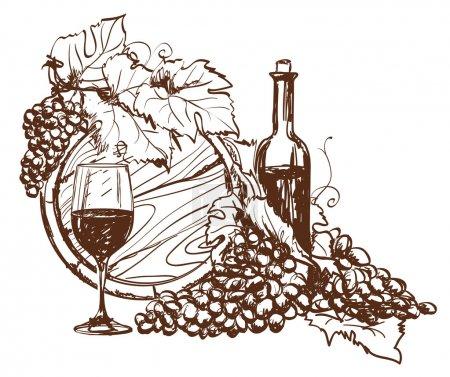 Illustration pour Raisin dessiné à la main et bouteille de vin. Vecteur - image libre de droit