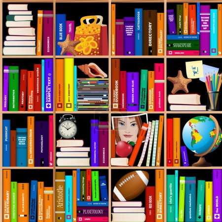 Illustration for Seamless vector wooden bookshelves with different objects - Royalty Free Image