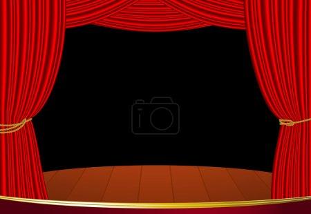 Illustration pour Rideau de scène rouge. Modèle vectoriel hautement réaliste . - image libre de droit