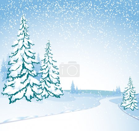 Illustration for Winter road. Vector - Royalty Free Image