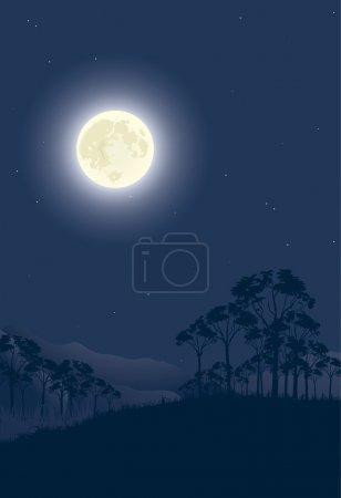 Illustration pour Nuit lunaire. Illustration vectorielle . - image libre de droit