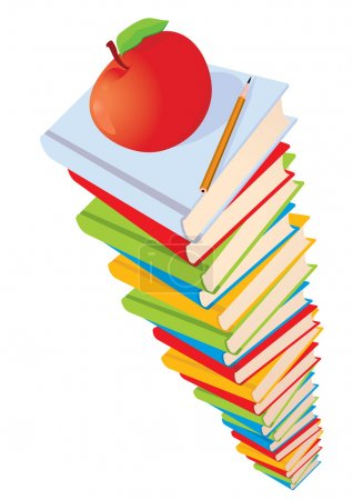 Stack of books, apple and pencil