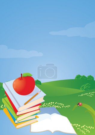 Stack of books on the desktop, apple and pencil.