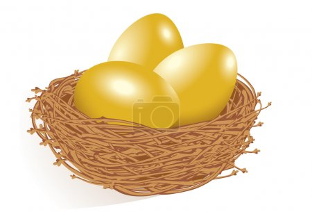 Gold eggs in the nest.