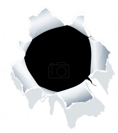 Hole in white paper. Vector....