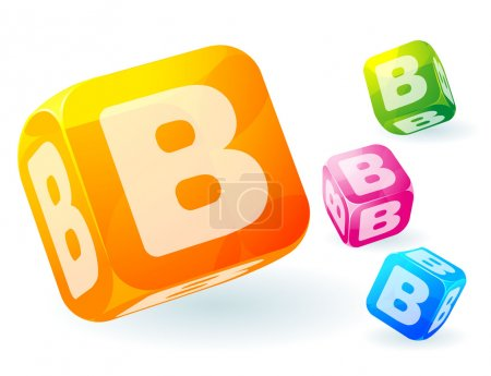 Illustration for Glossy transparent vector abc cubes. - Royalty Free Image