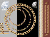 Gold chains and diamonds Vector contains pattern brushes of chains