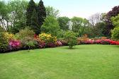 Beautiful manicured lawn in a summer garden