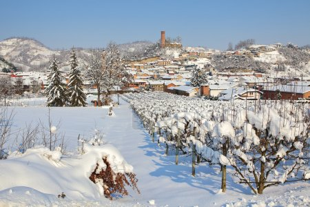Small town covered by snow in Piedmont, Italy.