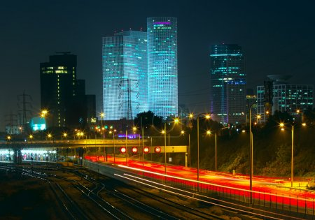 Night view of Tel Aviv, Israel.