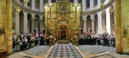 Interior panorama of Church of the Holy Sepulchre in Jerusalem,