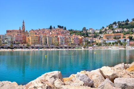 Small town of Menton on Mediterranean sea in France.